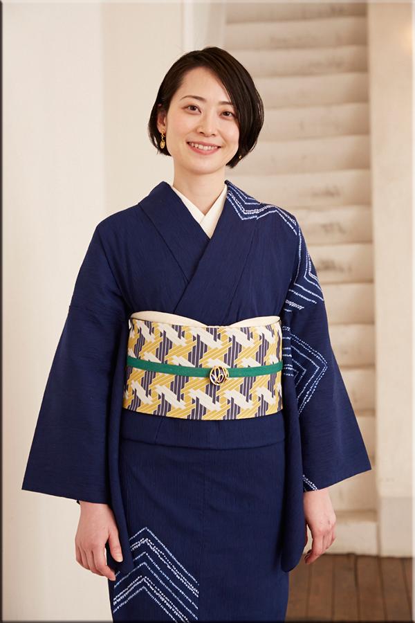 5−9きもの 縫締め絞り ナスカ 紺 綿麻きもの オーダー仕立付き 藤井絞 女性にオススメ
