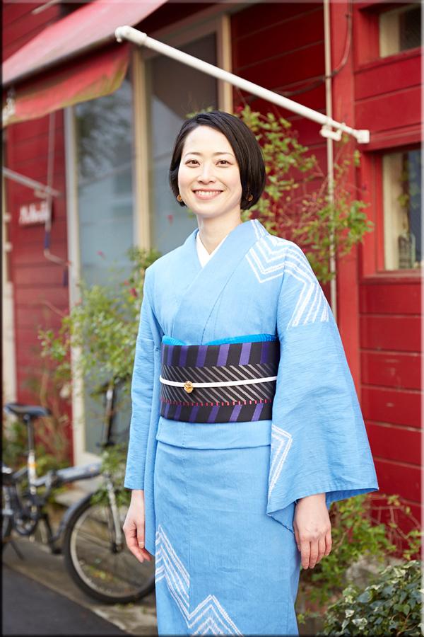 5−9きもの 縫締め絞り ナスカ 空色 綿麻きもの オーダー仕立付き 藤井絞 女性にオススメ