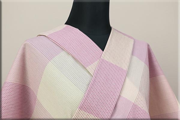 遠州木綿 刺し子風 木綿着物 オーダーお仕立て付き ピンク ◆女性にオススメ◆