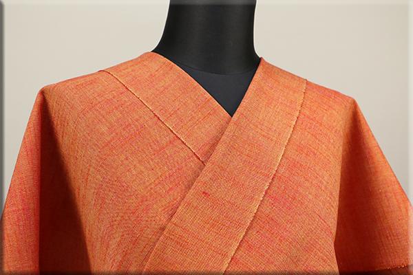 久留米 木綿着物 オーダーお仕立て付き 普段着きもの 無地 オレンジ ◆女性にオススメ◆