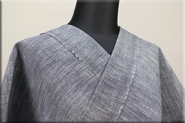 久留米 木綿着物 オーダーお仕立て付き 普段着きもの 無地 グレー ◆男女兼用◆