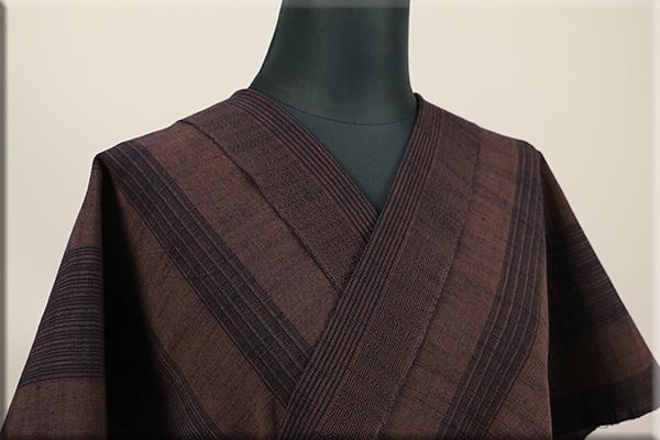 久留米 木綿着物 オーダーお仕立て付き 普段着きもの ストライプ 茶 ◆男女兼用◆