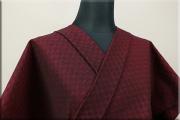 三河木綿 オーダーお仕立付き 洗える普段着着物  中厚地 チェッカーボード ワイン S-2 ◆男女兼用◆