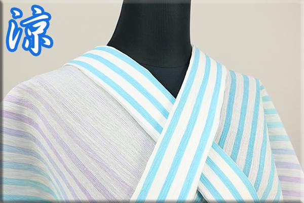 夏着物 小千谷ちぢみ 楊柳 オーダー仕立て付き 杉山織物 白x青系ストライプ ◆男女兼用◆