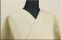 片貝木綿 紺仁工房 夏木綿着物 オーダー仕立て付き 綿ちぢみ ストライプ ベージュ ◆男女兼用◆