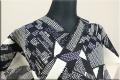 Kimono Factory nono 浴衣(ゆかた) 綿麻 オーダー仕立て付き 秘密 黒x白 ◆男女兼用◆