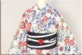 源氏物語 綿麻 浴衣(ゆかた) オーダー仕立て付き 紅型調 花 葉 流水 ◆女性にオススメ◆