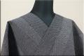 浴衣(ゆかた) 綿麻 オーダー仕立て付き 亀甲絣調 黒 ◆男女兼用◆
