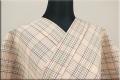 遠州木綿 布はし紬 木綿着物 オーダーお仕立て付き チェック ピンクベージュ ◆女性にオススメ◆