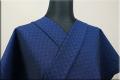 三河木綿 オーダーお仕立付き 洗える普段着着物  中厚地 チェッカーボード 青 S-8 ◆男女兼用◆