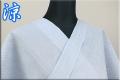 夏着物 小千谷ちぢみ 楊柳 オーダー仕立て付き 杉山織物 ストライプ 水色 ◆男女兼用◆