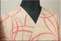 シルクウール オーダーお仕立て付き 三勝染 ピンク線花 ベージュ