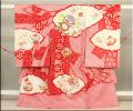 女児お祝い着 のしめ初着 刺繍総絞り 赤地 手まりとボタン