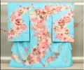 女児お祝い着 のしめ初着 金刺繍京友禅 変わり織り地紋水色 手まりと梅