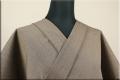 ウール着物 オーダーお仕立て付き 六〇双糸 暖かい普段着きもの グレージュ ストライプ ◆男女兼用◆