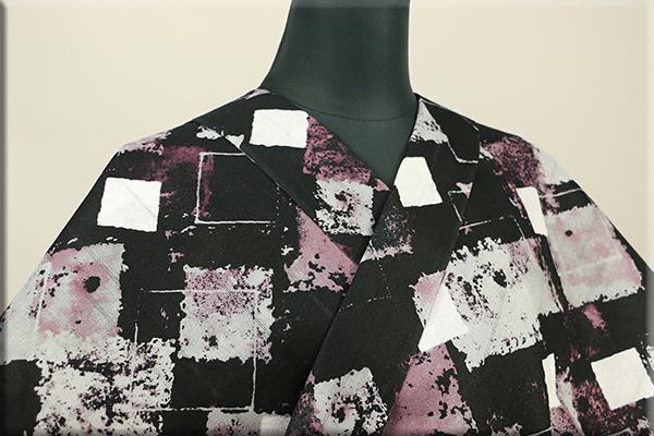 ViVi浴衣(ゆかた) オーダー仕立て付き むら染め風 ランダムスクエア 黒紫 男女兼用
