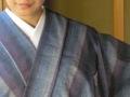 【遠州木綿キモノ】藍縞-柔らかなグラデーションのモダンな木綿着物 (水通し加工済/送料無料)