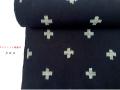 【木綿着物】久留米絣キモノー現代的な色柄ークロス navy blue(送料無料・反物/仕立可能)