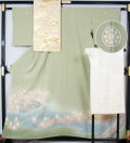 本加賀友禅 杉浦伸作 色留袖と綴れ袋帯、長襦袢のセット