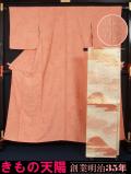 着物セット 色無地と袋帯のセット 九曜紋 正絹 佐賀錦