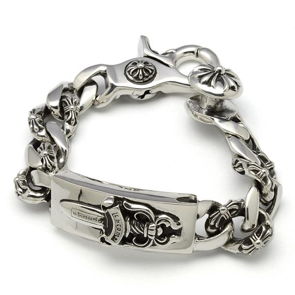 CHROME HEARTS(クロムハーツ)ID Dagger Fancy Chain Bracelet Cross Clip chb54