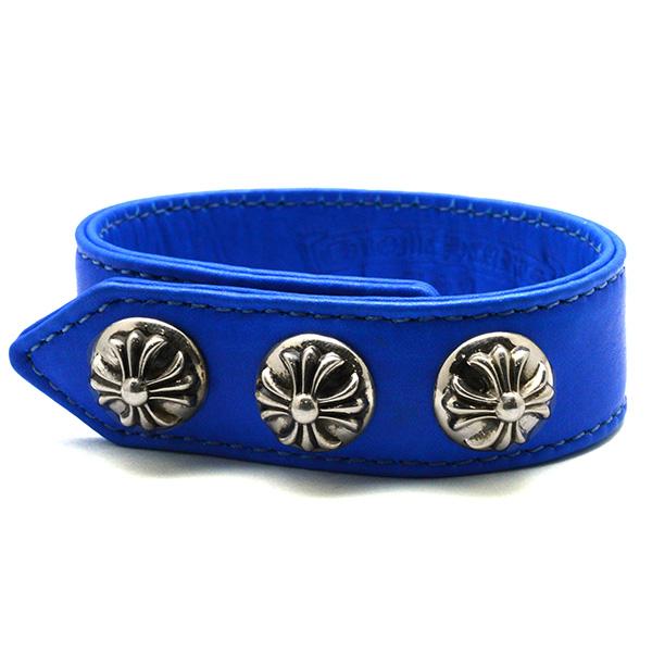CHROME HEARTS(クロムハーツ) 3ボタン/2スナップ クロスボール レザーブレスレット BLUE