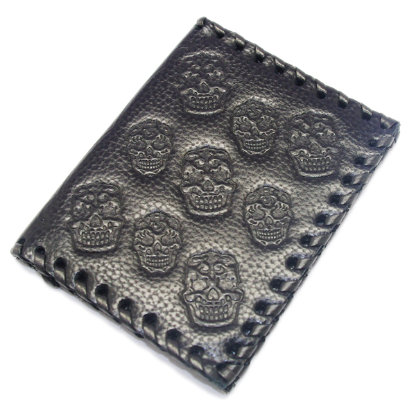 CRAZY PIG DESIGNS(クレイジーピッグ) MEXICAN SKULL CARD CASE/BK