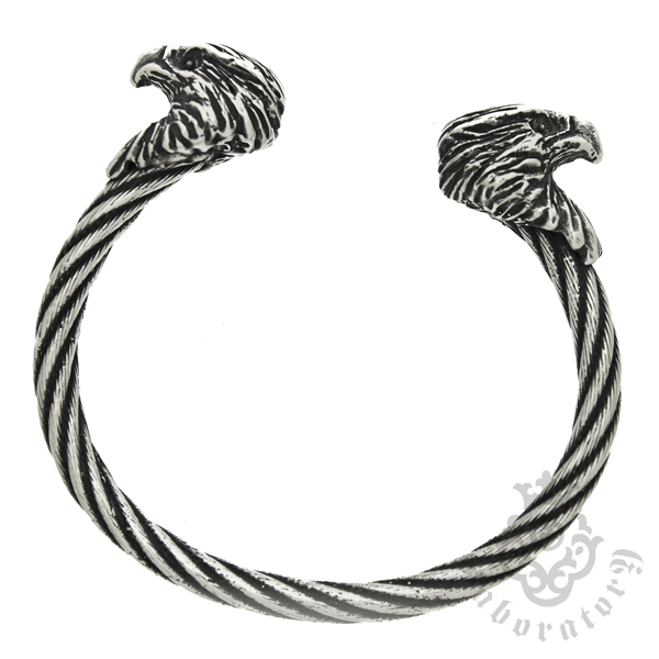 Gaboratory(ガボラトリー) Eagle heads cable wire bangle イーグルヘッド ケーブルワイヤーバングル
