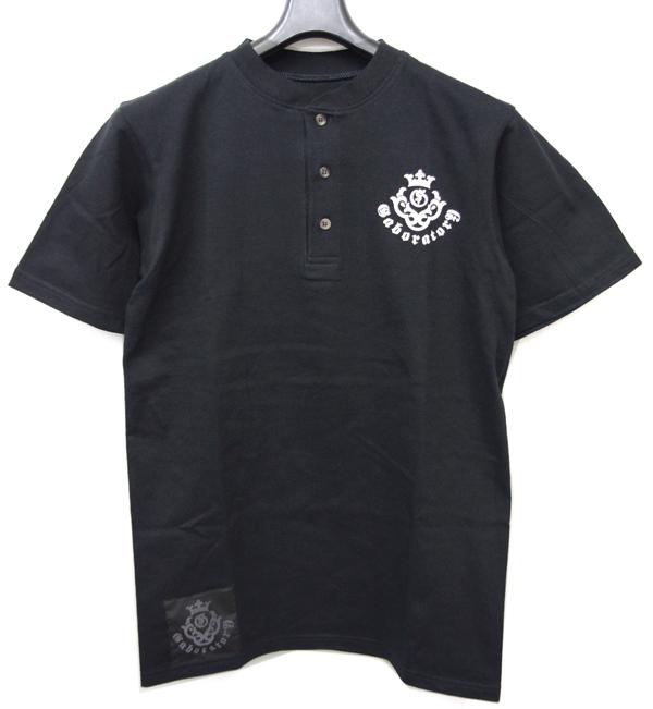 Gaboratory(ガボラトリー) ヘンリーネックTシャツ ブラック×ホワイトプリント