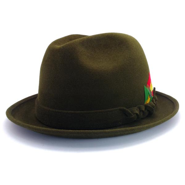 KNOX(ノックス) 【日本製最高品質帽子】チロルハット ラビットファーフェルト100% KNT388(オリーブ)