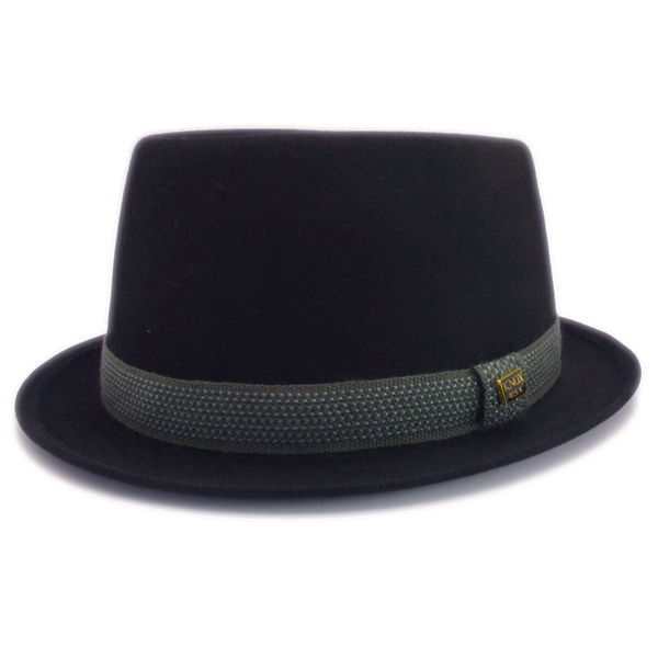 KNOX(ノックス) 【日本製最高品質帽子】プレインポークパイハット ラビットファーフェルト100% KFSP348(ブラック)
