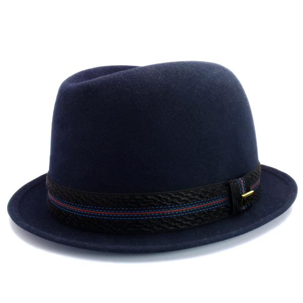 KNOX(ノックス) 【日本製最高品質帽子】コツバチロルハット ラビットファーフェルト100% KFNB398(ネイビー)