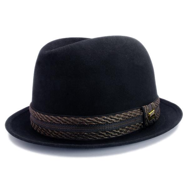 KNOX(ノックス) 【日本製最高品質帽子】コツバチロルハット ラビットファーフェルト100% KFNB348(ブラック)