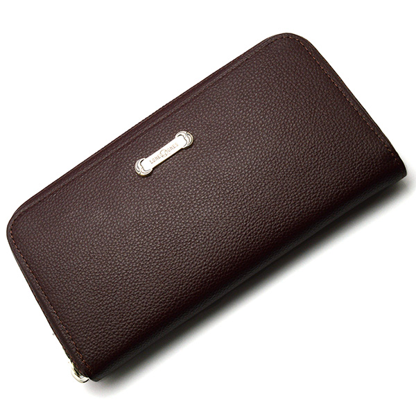 LONE ONES(ロンワンズ) Zipper Long Wallet SV Plate Brown MFW-0013-P-BRN