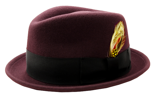 NEW YORK HAT(ニューヨークハット) ハット THE DROP STINGY FEDORA/BURGUNDY 5329