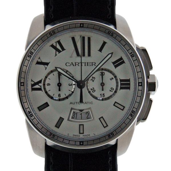 カルティエ CARTIER カリブル ドゥ カルティエ クロノグラフ W7100046 SS シルバー メンズ 自動巻 革ベルト 新品