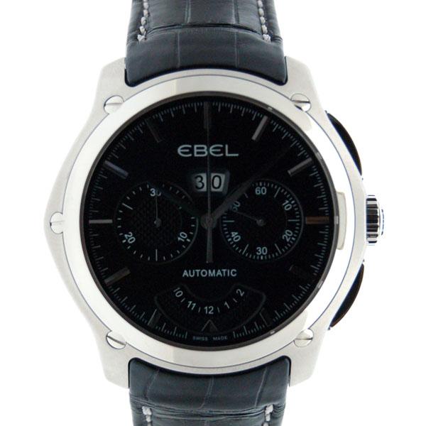 エベル EBEL クラシックヘキサゴン クロノグラフ 1215932 メンズ SS ブラック 革ベルト 新品