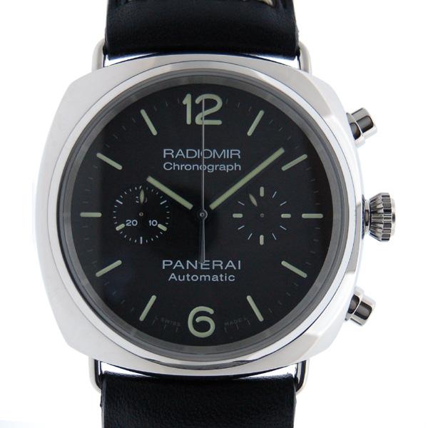 パネライ PANERAI ラジオミールクロノグラフ PAM00369 自動巻 SS ブラック 革 新品