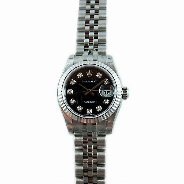 ロレックス ROLEX デイトジャスト Ref.179174G ブラック彫りコン10Pダイヤ
