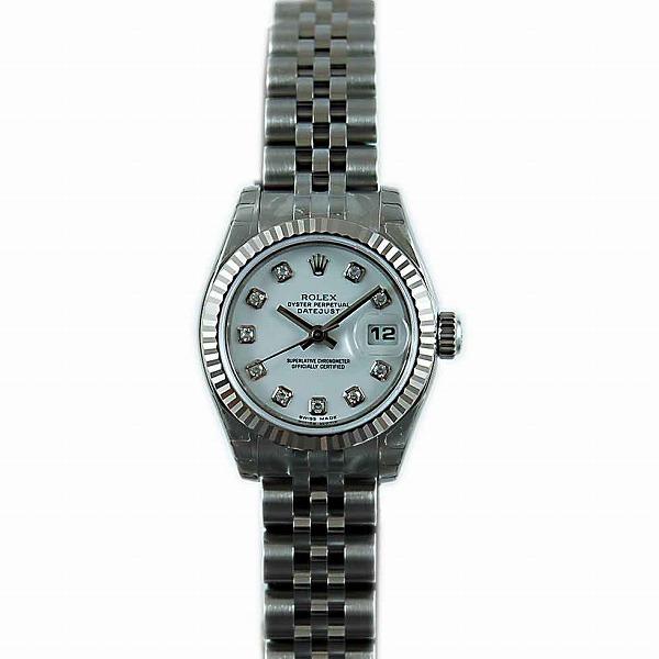ロレックス ROLEX デイトジャスト 179174G レディース ホワイト 10Pダイヤ SS/WG 新品