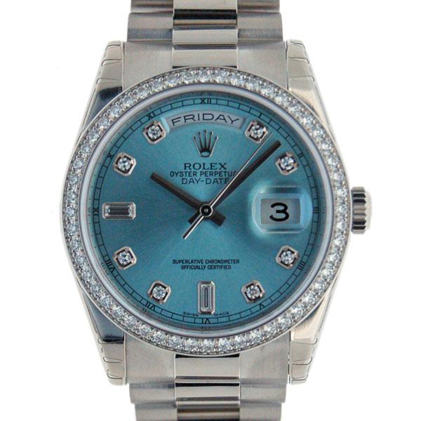 ロレックス ROLEX デイデイト 118346A アイスブルー プラチナ ベゼルダイヤ 新品