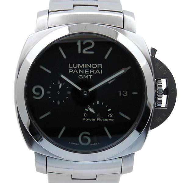 パネライ PANERAI ルミノール1950 3デイズ GMTパワーリザーブ PAM00347 SS 44mm ブラック 自動巻 P番 USED 中古
