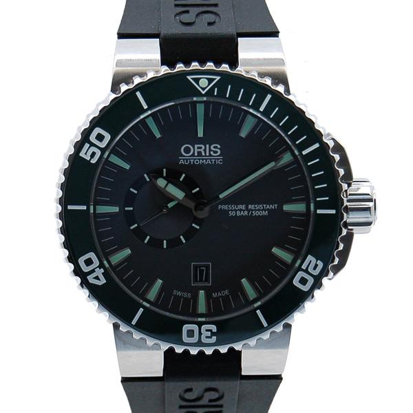 オリス ORIS アクイス スモールセコンド デイト 743 7673 4137R SS グレー ラバー 未使用品