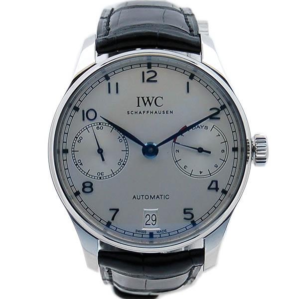 IWC ポルトギーゼ 7デイズ IW500705 シルバー 青針 革ベルト 未使用品