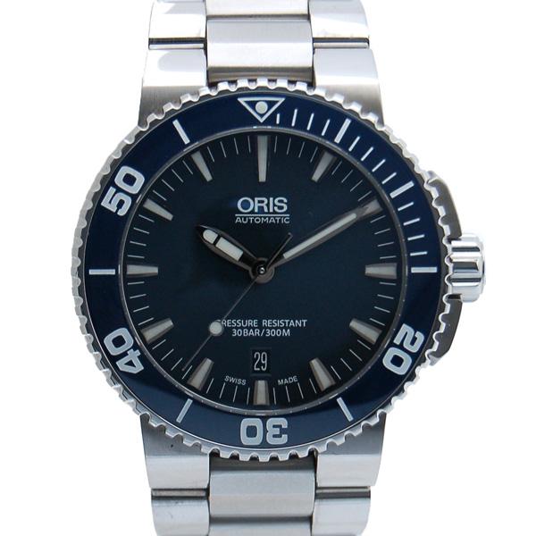 オリス ORIS アクイス デイト 733 7653 4155M SS ブルー USED 中古