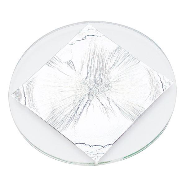 箔ガラス丸トレー(銀箔)