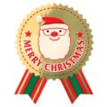 【金色】クリスマス サンタさんリボン型シール 10枚セット