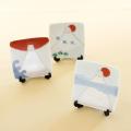 【和食器通販 金照堂】 福珠窯 色絵富士(3柄) 角小皿(皿立付)