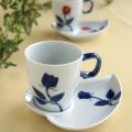 バラハート型 コーヒー碗皿(青)