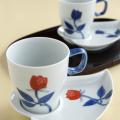 バラハート型 コーヒー碗皿(赤)